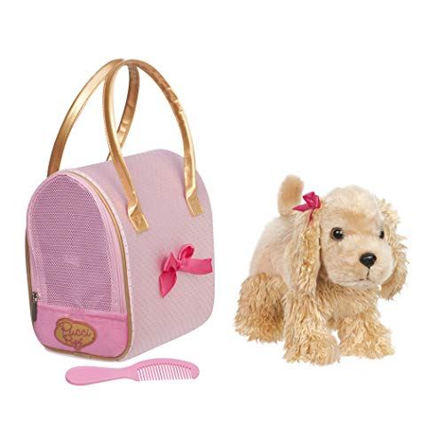 (Pucci Pups by Battat – Cocker Spaniel Stuffed Puppy with Pink and Gold Dotted Stuffed Animal Bag)