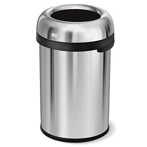 simplehuman Bullet Open Trash Can, Commercial Grade, Heavy Gauge Stainless Steel, 115 L/30 (Stainless Steel Bullet)