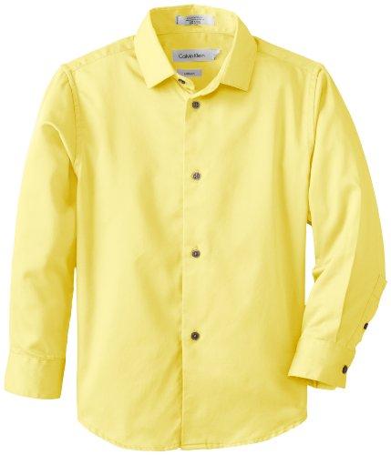 Calvin Klein Dress Up Little Boys' Bright Solid Sateen Long Sleeve Dress Shirt 1, Bright Yellow, 07
