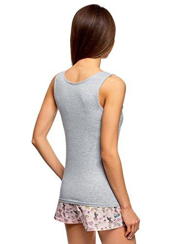 Grigio 2029z Set Pigiama Donna Ultra Pantaloncini con oodji qwAHC6R