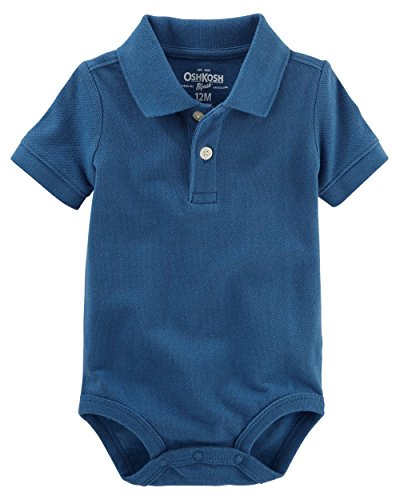 Cotton Pique Jeans - OshKosh B'gosh Baby Boys Short Sleeve Pique Polo Bodysuit (18 Months, Denim Blue)