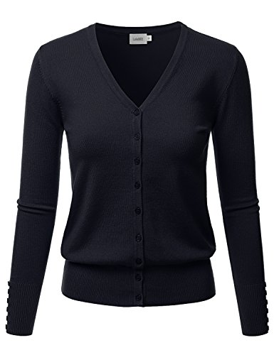 LALABEE Women's V-Neck Long Sleeve Button Down Sweater Cardigan Soft Knit-Navy-L (Cardigan V-neck Sleeve 3/4)