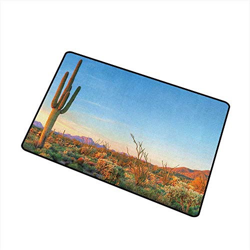 (Sillgt Saguaro Entrance Doormat Sun Goes Down in Desert Prickly Pear Cactus Southwest Texas National Park Machine-Washable/Non-Slip 16