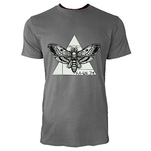 SINUS ART® Motte mit Totenkopf Herren T-Shirts in Grau Charocoal Fun Shirt mit tollen Aufdruck