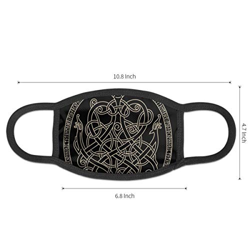 TRAVOTG Ancient Decorative Dragon in Celtic Style Mouth Mask,Unisex Mask Personality Print Anti-Pollen Mask Anti-dust and Anti-infective Polyester Face Mask Face-Fitting for Men and Women