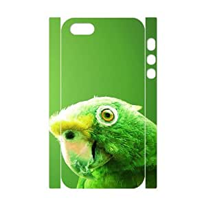 3D IPhone 5,5S Cases Green Parrot, [White]