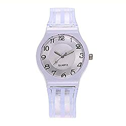 FAVOT 2019 New Unisex Casual Watch Simple Digital Stripe Plastic Transparent PVC Strap Student Geneva Analog Quartz Watch (White)