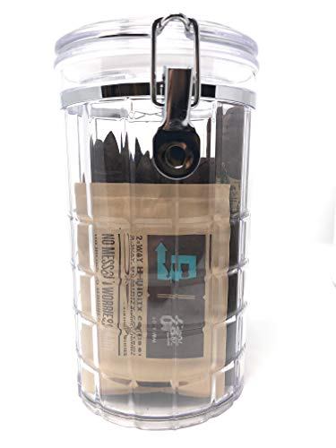 Crystal Cut Acrylic Cigar Humidor Jar with Boveda 69% 2-Way Humidity System, 25 Cigar Capacity