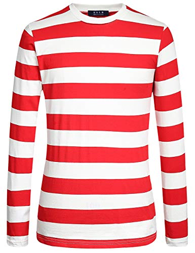 SSLR Men's Cotton Crew Neck Casual Long Sleeves Stripe T-Shirt (X-Large, Red White)