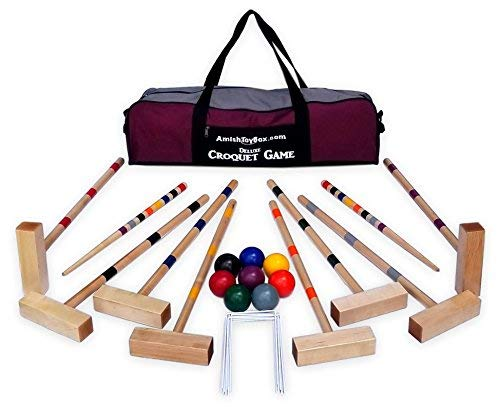 - Family Traditions 8 Player Wooden Croquet Set, Amish Made