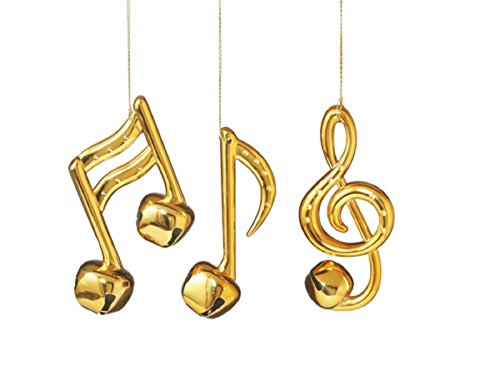 Shiny Gold Musical Note Bell Ornaments Set of 3 Notes Music (Musical Note Ornament)