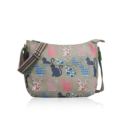 Ladies Messenger Handbag Adorable Oilcloth Grey Bag Matte Cat Fashion qqwC1I