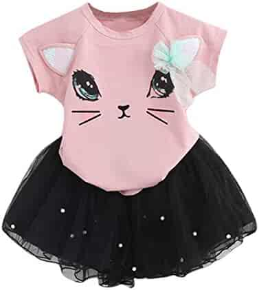 25e76a5c5dff4 Dsood Kids Girls Summer Fashion Cartoon Little Kitten Printed Shirt +Dress  Sets