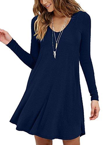 (Viishow Womens Comfy Swing Tunic Long Sleeve Solid T-Shirt Dresses(XS, Long Sleeve Navy Blue))
