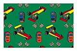 Pit Stop Race Car Green Multi - 2'x3' Custom Stainmaster Premium Nylon Carpet Area Rug ~ Bound Finished Edges