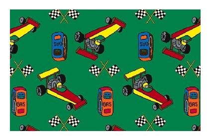 Pit Stop Race Car Green Multi - 8'x10' Custom Stainmaster Premium Nylon Carpet Area Rug ~ Bound Finished Edges