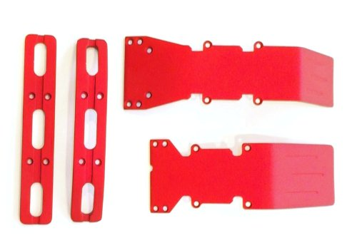 T-Maxx or E-Maxx Red Anodized Skid Plate and Bumper Dea ()