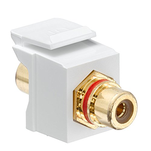 (Leviton 40830-BWR QuickPort RCA, Gold-Plated Connector with Red Stripe, White)