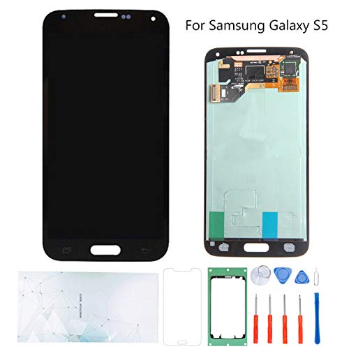 Kosuroum Screen Replacement for Samsung Galaxy S5 G900 i9600 G900A G900T G900V G900P LCD Glass Display Touch Digitizer Assembly Tools (Black)