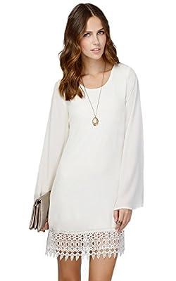 MiYang Women's Long Sleeve Chiffon A-line Lace Stitching Trim Mini Dress
