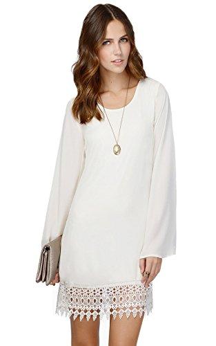 MiYang Women's Long Sleeve A-Line Lace Stitching Trim Mini (Ivory Lace Trim Dress)