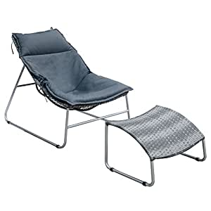 HOMES: Inside + Out IDF-OC2120-CH Amelia Patio Lounge Chair with Ottoman, Gray