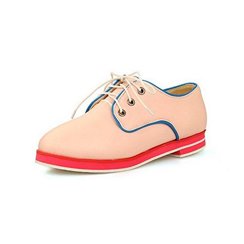 BalaMasa Girls lace-up colori assortiti low-heels morbido materiale pumps-shoes, Rosa (Pink), 38