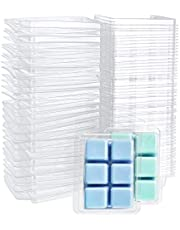 Jucoan 100 Pack Plastic Wax Melt Clamshell Mold, 6 Cavity Round Clear Wax Molds for Wax Melt Candle Soap DIY