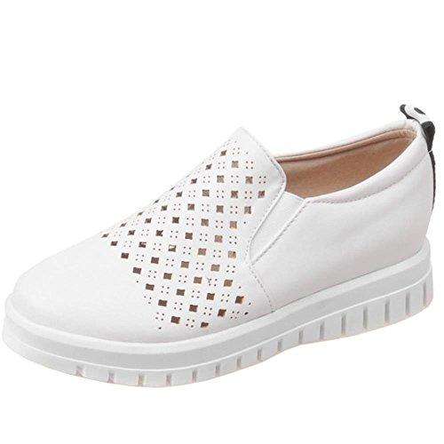 COOLCEPT Zapatos Mujer Moda Breathable Flatform Comodo Outdoor Bombas Zapatos Blanco