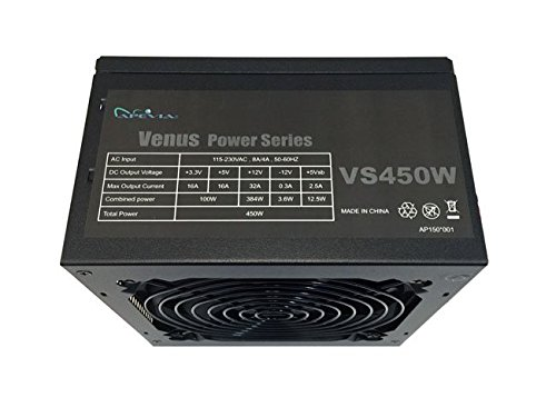 APEVIA ATX-VS450W Venus 450W ATX Power Supply with Auto-Thermally Controlled 120mm Fan, 115/230V Switch, All Protections