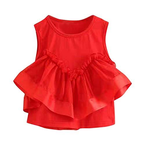 TEVEQ Kids Girls Dresses Ruffled Irregular Princess Party Dress Sundress Summer Red]()