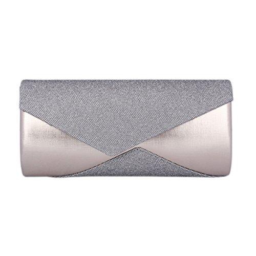Grey Women's Asymmetric of Party Bag Saturn Day Glitter Clutch Eqt8vv