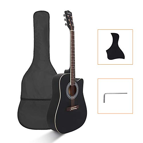 "Glarry 41"" Full Size Folk Guitar, Notch Spruce Panel Matte Edging Acoustic Cutaway Guitar Kit Set W/Bag Shield Wrench Black"