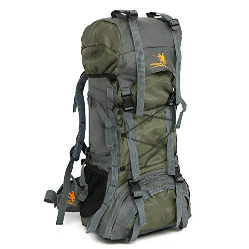 - 60L Internal Frame Outdoor Camping Travel Rucksack Mountaineering Backpack Climbing Hiking Bag Packs Large Capacity (Green)