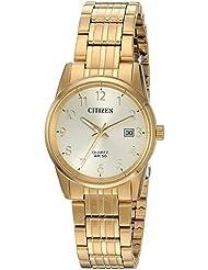 Citizen Womens Quartz Stainless Steel Casual Watch, Color:Gold-Toned (Model: EU6002-51Q)