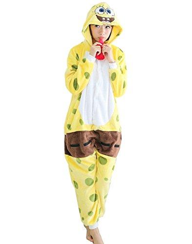 [Unisex Adult Sponge Bob Kigurumi Animal Onesie Pajamas Costume Cosplay Clothing Sleepwear Romper] (Role Reversal Halloween Costumes)