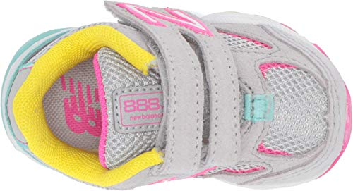 New Balance Girls' 888v2 Hook and Loop Running Shoe Grey/Rainbow 2 M US Infant by New Balance (Image #1)