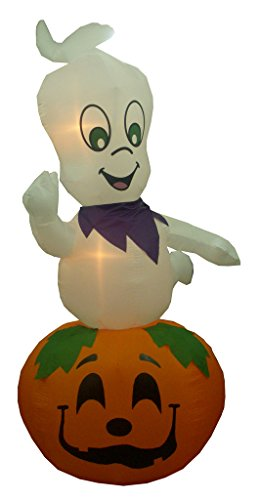 BZB Goods 9 Foot Animated Halloween Inflatable Friendly Ghost on Pumpkin Decoration -