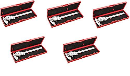 """Starrett 3202-6 Dial Caliper, Hardened Stainless Steel, 0-6"""" Range, 0.001"""" Graduation, White (Fivе Расk)"""