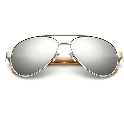 UV400 Argent Sonnenbrillen Resin Unisex Objektiv Sonnenbrillen Republe Metallrahmen Lentille Bambus Schutz Sonnenbrillen Beine pwXqO4g