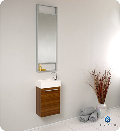 "Fresca Bath FVN8002TK Pulito Small Vanity with Tall Mirror, Teak - Dimensions of vanity: 15.5""W x 8.5""D x 24.75""H Dimensions of mirror: 15.75""W x 47.75""H x 2""d Materials: MDF with acrylic countertop/sink with overflow - bathroom-vanities, bathroom-fixtures-hardware, bathroom - 41uI k7TLtL -"