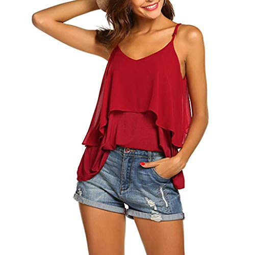 2019 Women Sexy V Neck Sleeveless Camis Summer Tank Tops Patchwork Casual Blouses (Red, XL) by Tanlo (Image #4)