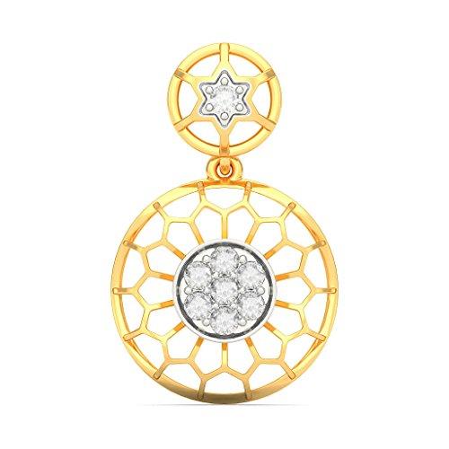 Or jaune 14K 0,29CT TW White-diamond (IJ   SI) Pendants d'oreilles