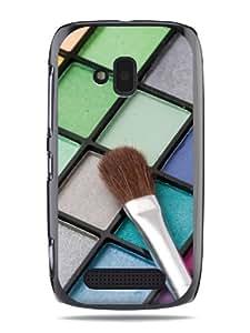 "GRÜV Premium Case - ""Mascara Makeup Beauty Kit"" Design - Best Quality Designer Print on Black Hard Cover - for Nokia Lumia 610"