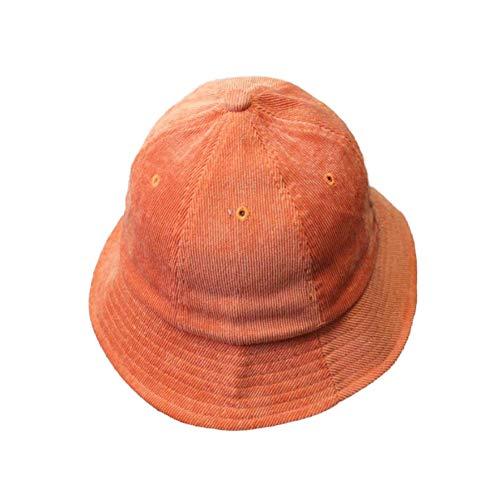 (yanbirdfx Fashion Unisex Solid Color Packable Corduroy Bucket Hat Travel Fishing Fisherman Cap Anti-UV Orange)