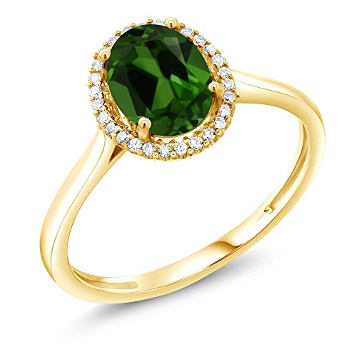 Gem Stone King 1.20 Ct Oval Green Chrome Diopside 10K Yellow Gold Diamond Ring (Size 6) (Black Gold And Pink Diamond Engagement Rings)