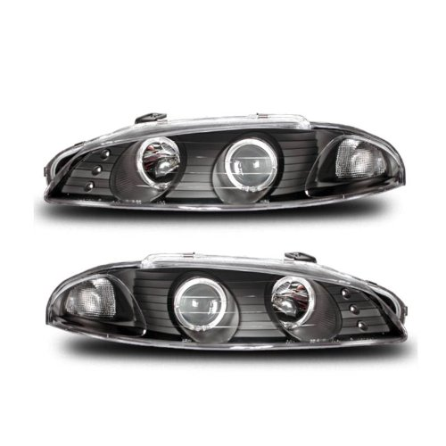 SPPC Black Projector Headlights G2 Assembly Set Halo For Mitsubishi Eclipse - (Pair) Driver Left and Passenger Right Side Replacement Headlamp (Stock 97 99 98 Eclipse)