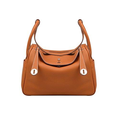 Shoulder Ainifeel Women's Everyday Purse Bag Leather Genuine Hobo Brown apU7w