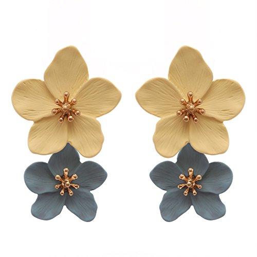 Rosemarie Collections Women's Double Metal Flower Dangle Drop Post Earrings ()