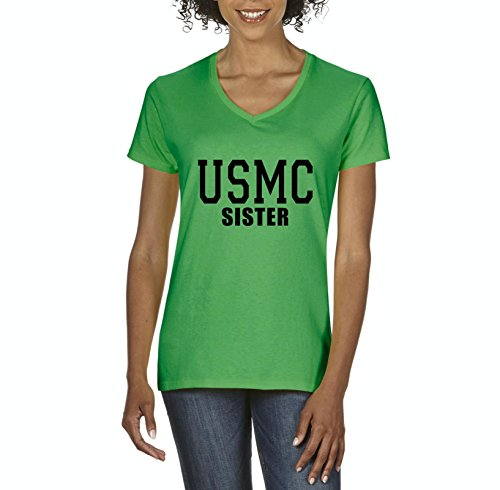 USMC Sister Proud Marine Corps Match w Flag Hat Decal Sticker Patch Gift Womens Shirts V-Neck
